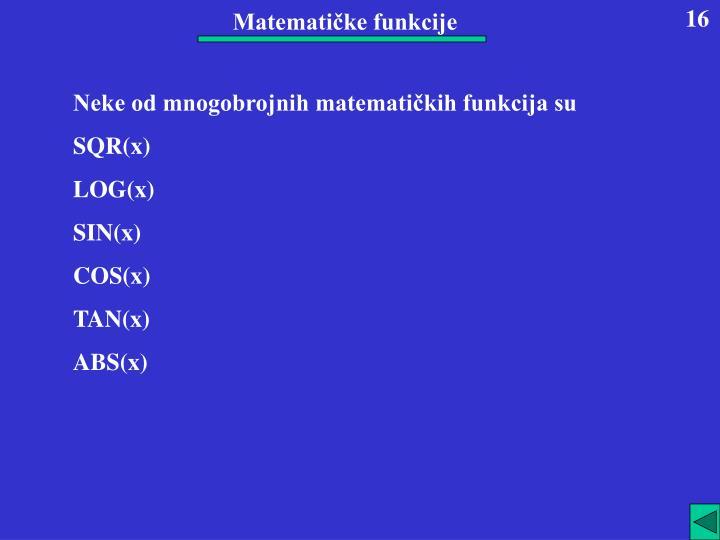 Matematičke funkcije