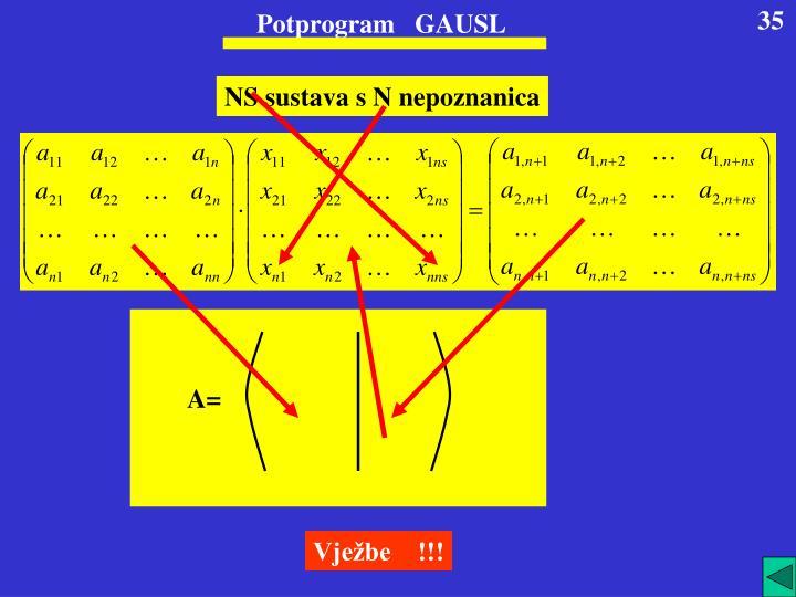 Potprogram   GAUSL