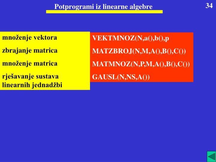 Potprogrami iz linearne algebre