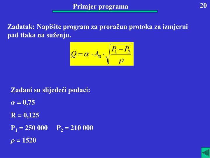 Primjer programa