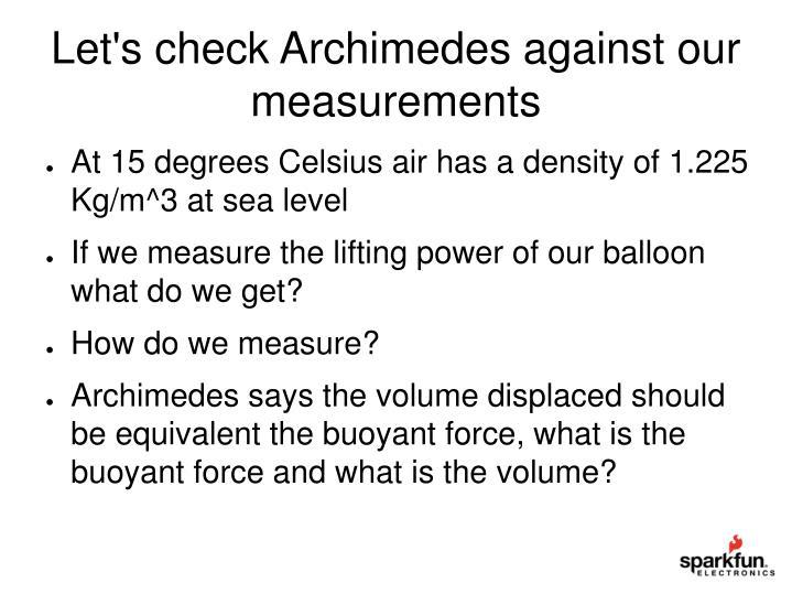 Let's check Archimedes against our  measurements