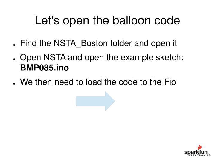 Let's open the balloon code