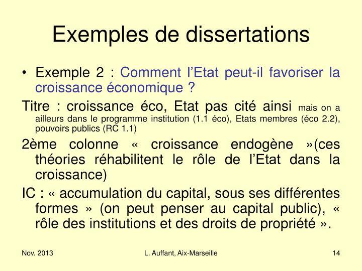 Exemples de dissertations