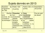 sujets donn s en 2013