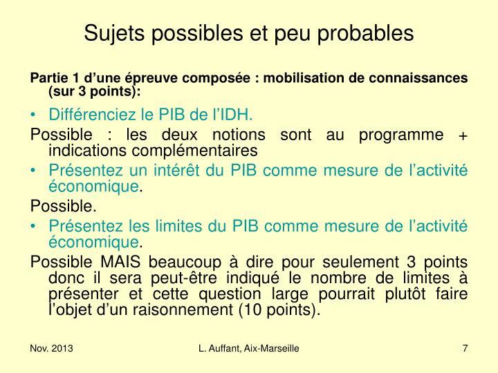 Sujets possibles et peu probables