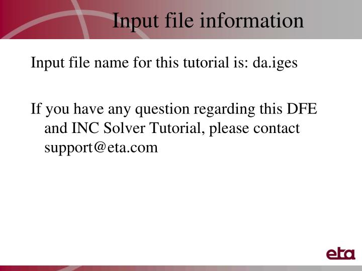 Input file information