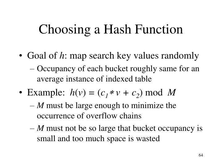 Choosing a Hash Function