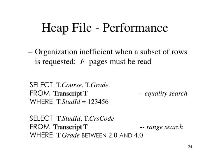 Heap File - Performance
