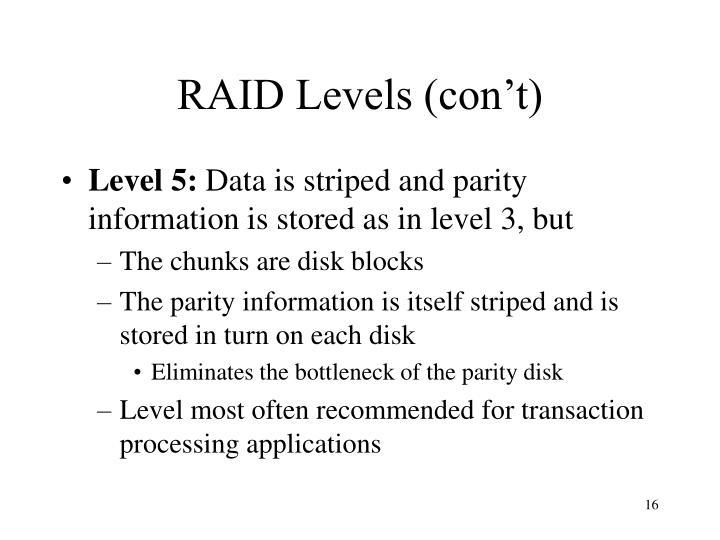 RAID Levels (con't)