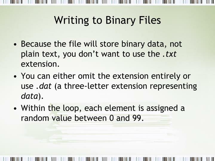 Writing to Binary Files