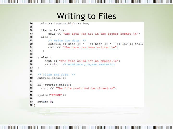 Writing to Files