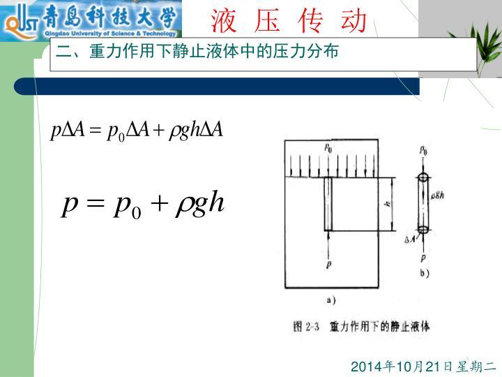 二、重力作用下静止液体中的压力分布