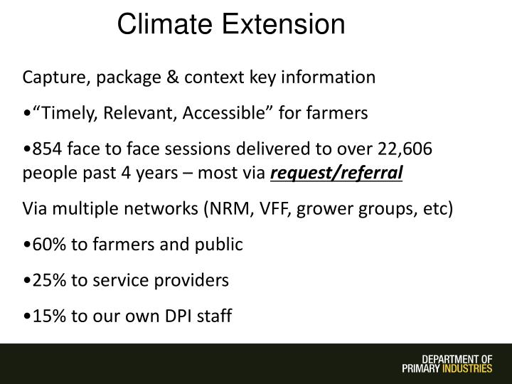 Climate Extension