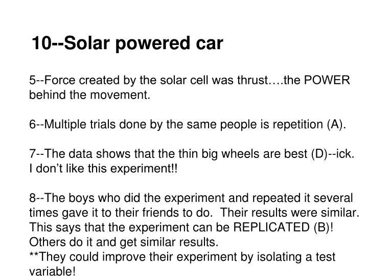 10--Solar powered car
