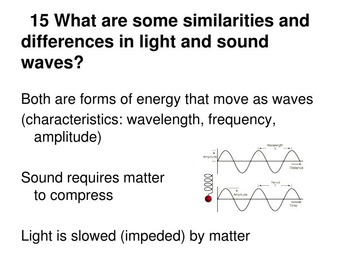 15 What are some similarities and differences in light and sound waves?