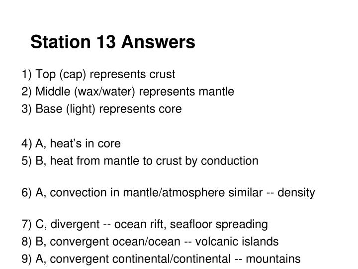Station 13 Answers