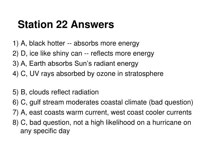 Station 22 Answers
