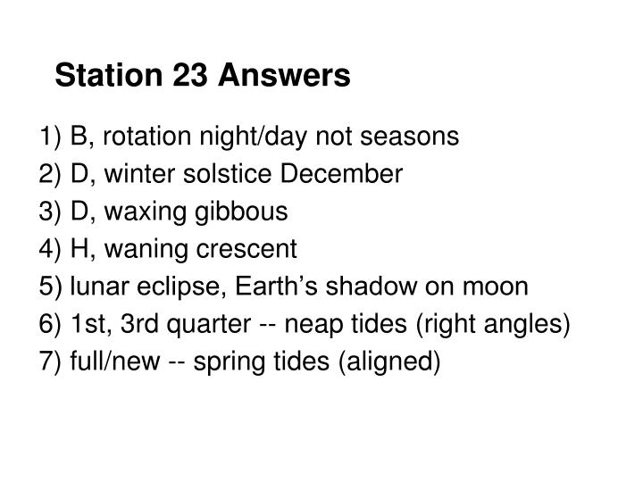 Station 23 Answers