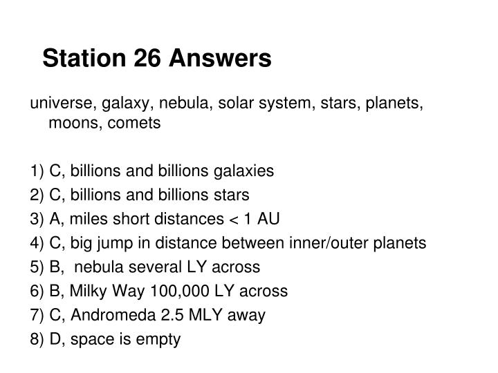 Station 26 Answers