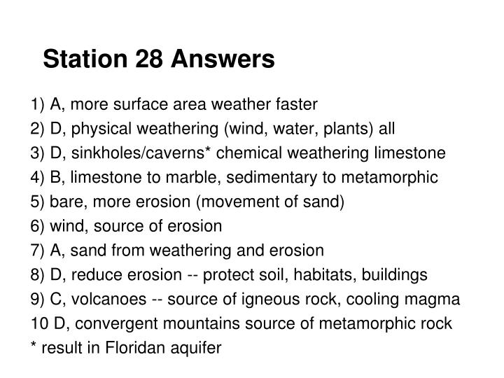 Station 28 Answers
