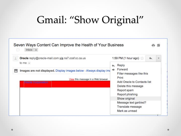 "Gmail: ""Show Original"""