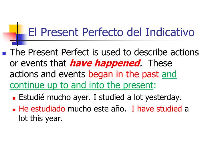 El Present Perfecto del