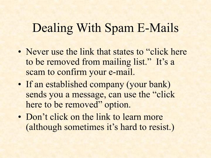Dealing With Spam E-Mails