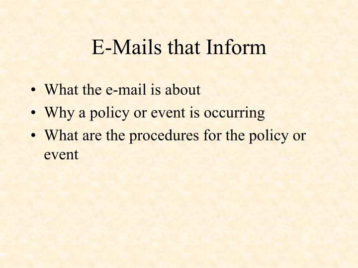 E-Mails that Inform