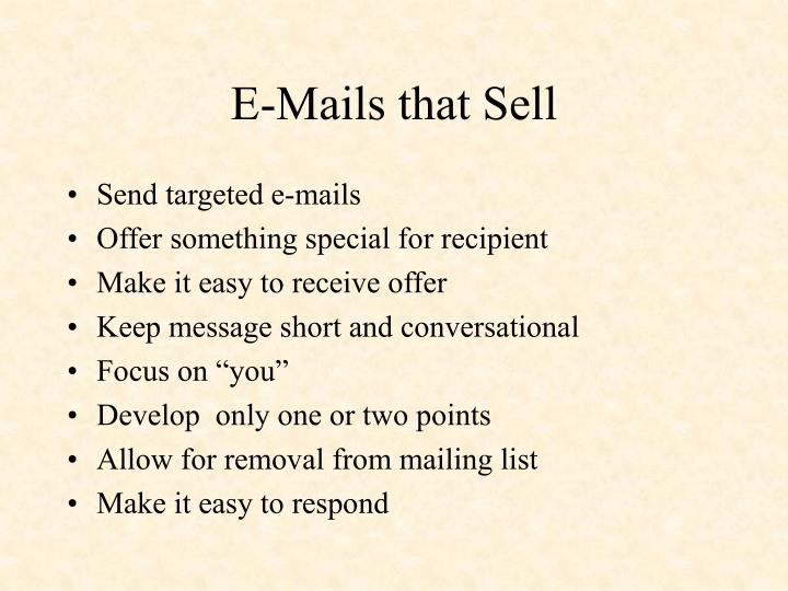 E-Mails that Sell