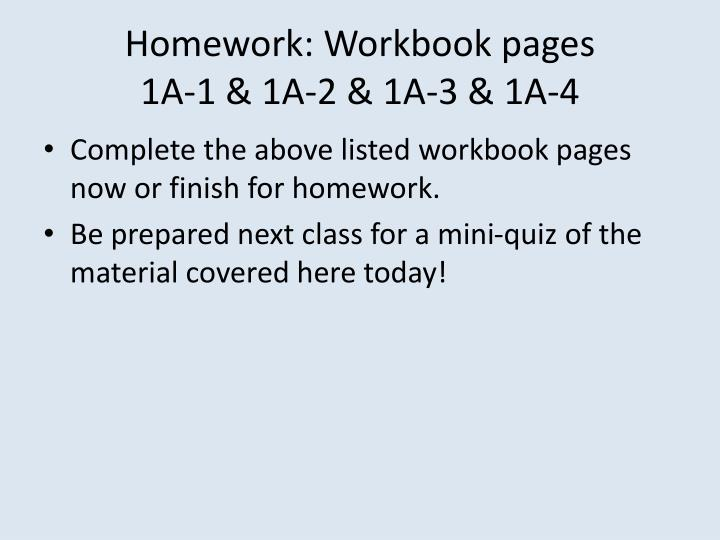 Homework: Workbook pages