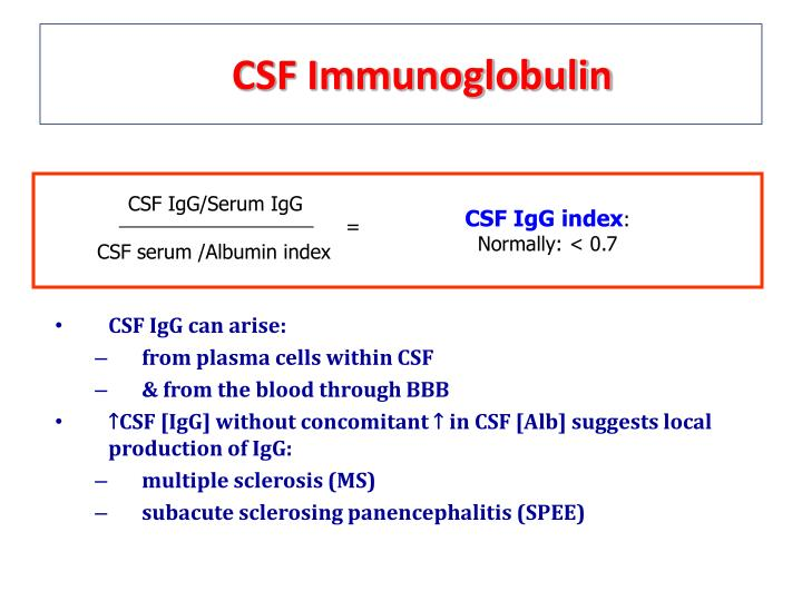 CSF Immunoglobulin