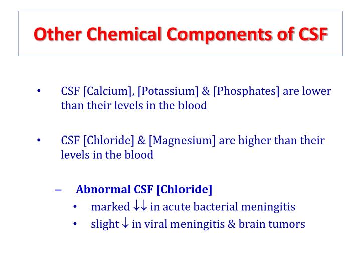 Other Chemical Components of CSF