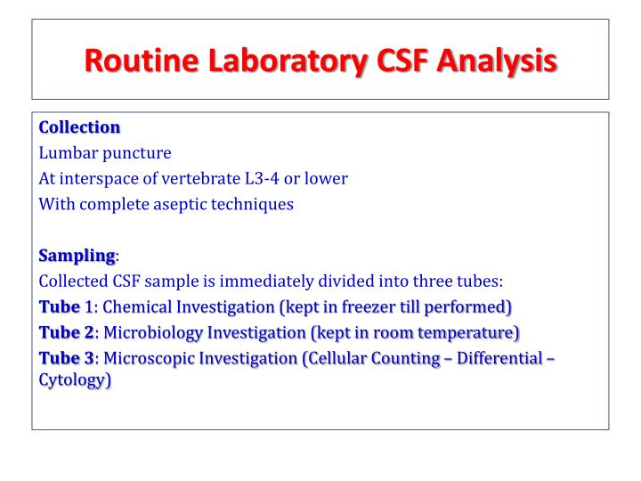 Routine Laboratory CSF Analysis