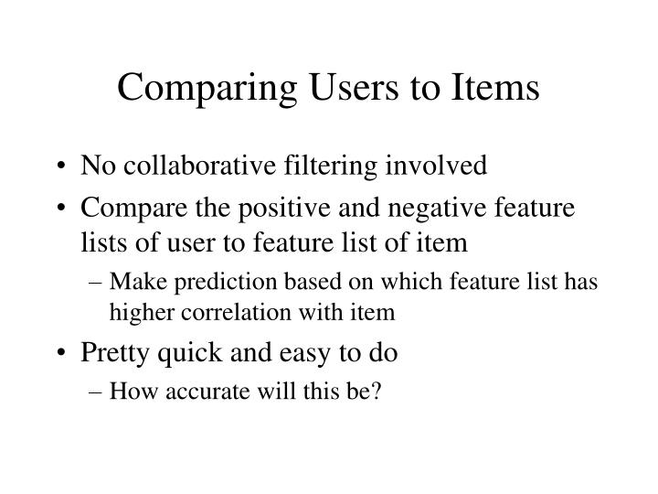 Comparing Users to Items