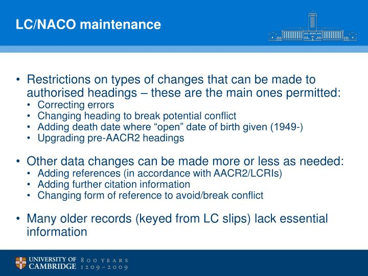 LC/NACO maintenance