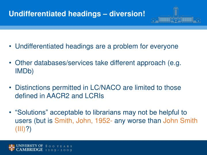 Undifferentiated headings – diversion!