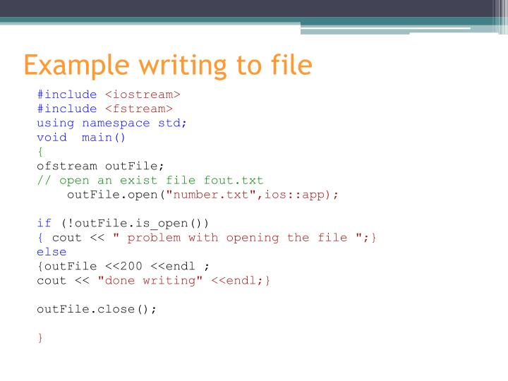Example writing to file