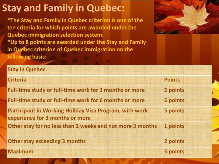 Stay and Family in Quebec: