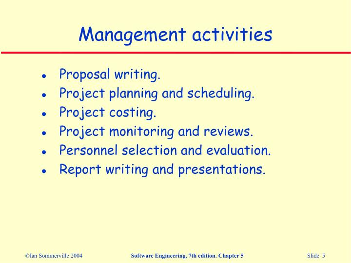 Management activities