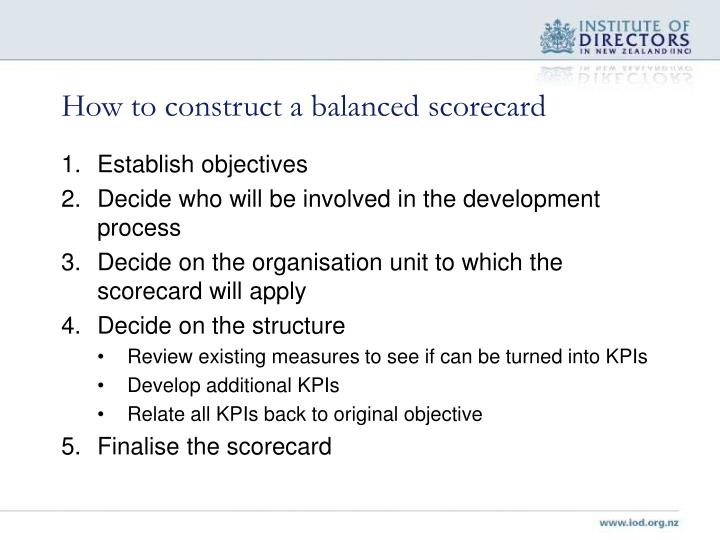 How to construct a balanced scorecard