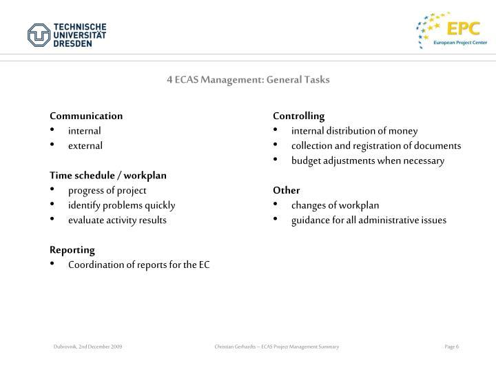 4 ECAS Management: General Tasks