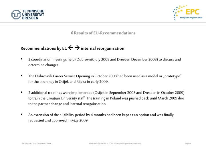 6 Results of EU-Recommendations
