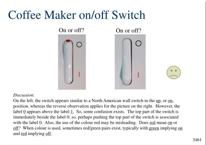 Coffee Maker on/off Switch