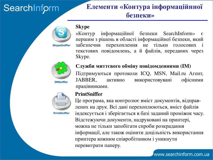 Елементи «Контура інформаційнної безпеки