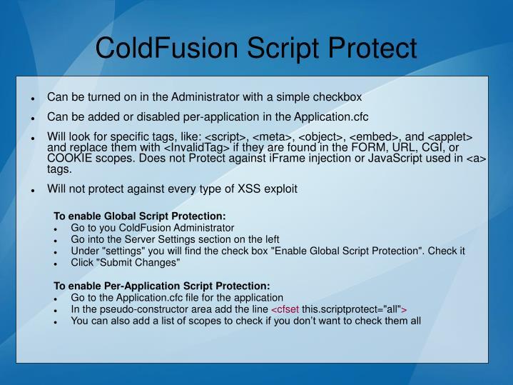 ColdFusion Script Protect