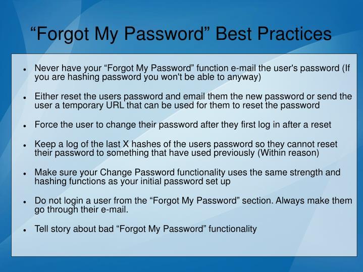 """""""Forgot My Password"""" Best Practices"""
