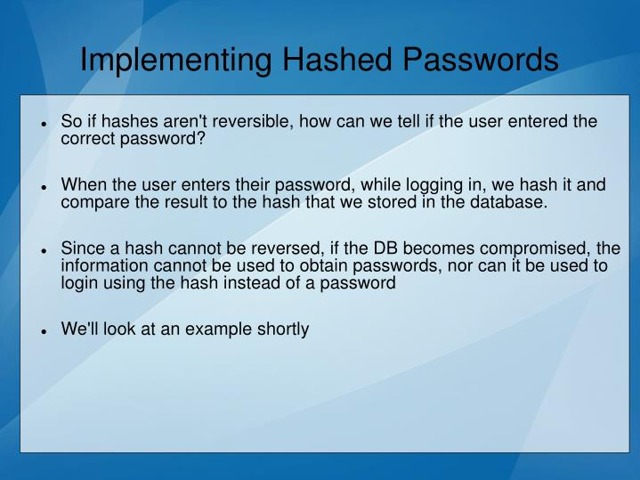 Implementing Hashed Passwords