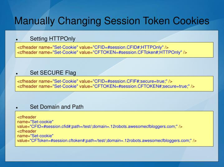 Manually Changing Session Token Cookies