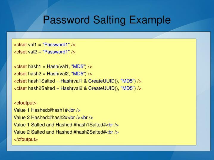 Password Salting Example