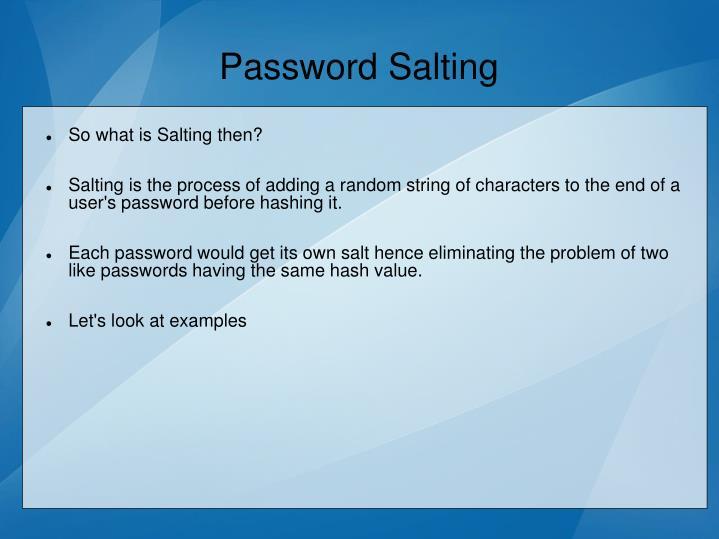 Password Salting